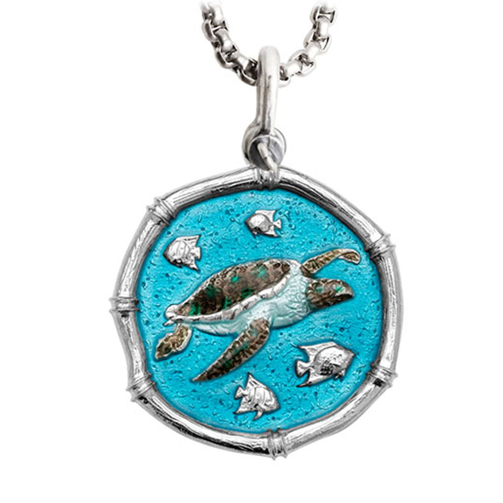 Guy Harvey Large Sea Turtle Full Color Enameled Sterling Silver Necklace - Stainless Steel Chain