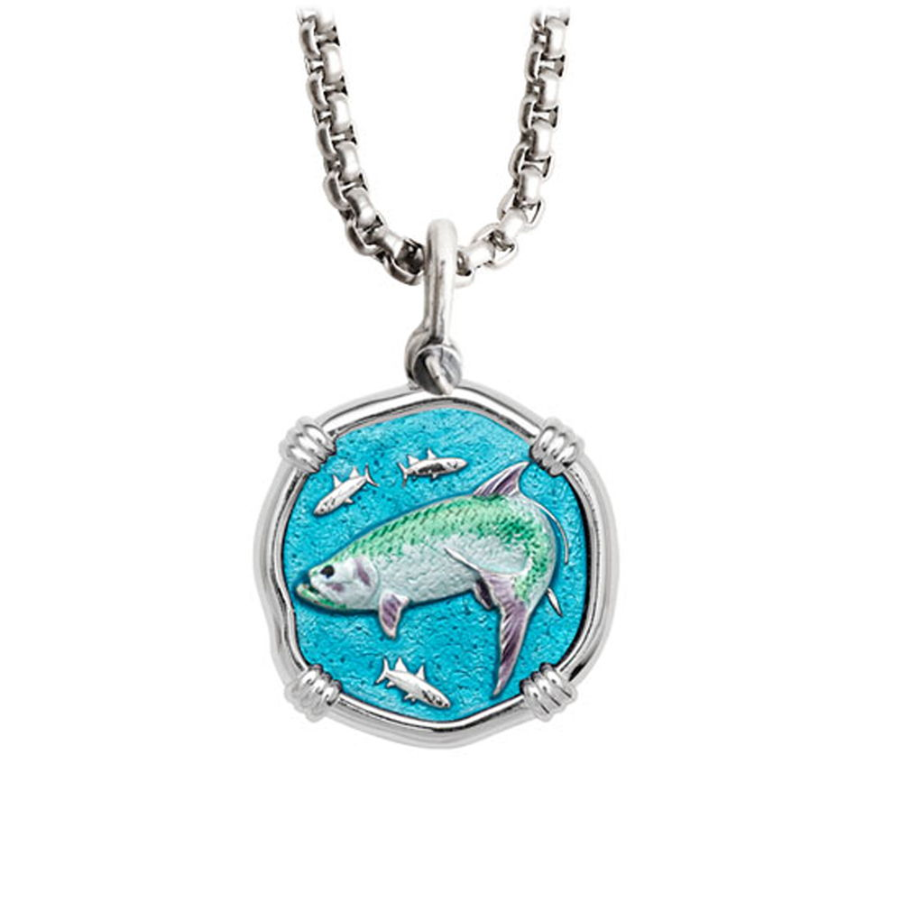 Guy Harvey Medium Full Color enameled Sterling Silver Tarpon Necklace with Stainless Steel Chain