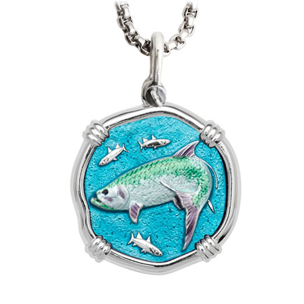 Guy Harvey Large Tarpon Full Color Enameled Sterling Silver Necklace with Stainless Steel Box Chain