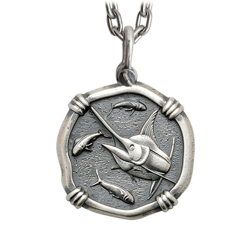 Guy Harvey Large Size Sterling Silver Marlin Necklace with Stainless Steel Heavy Link Chain
