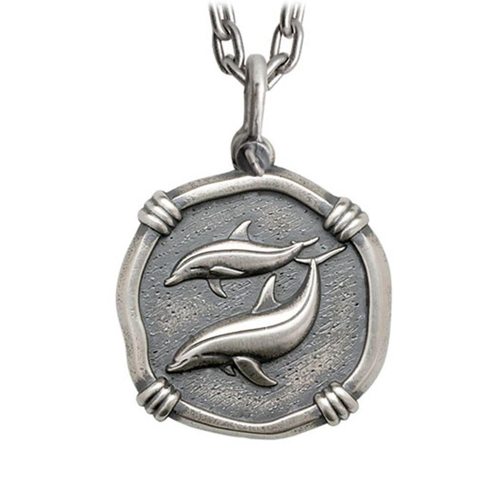 Guy Harvey Large Size Sterling Silver Porpoises Necklace W/ Stainless Chain