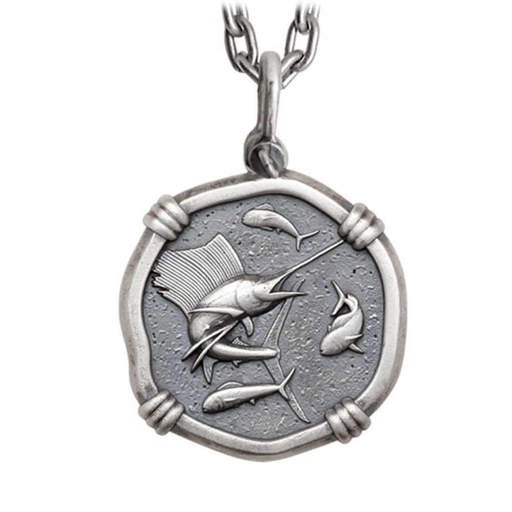 Guy Harvey Large Size Sterling Silver Sailfish Necklace with Stainless Steel Heavy Link Chain