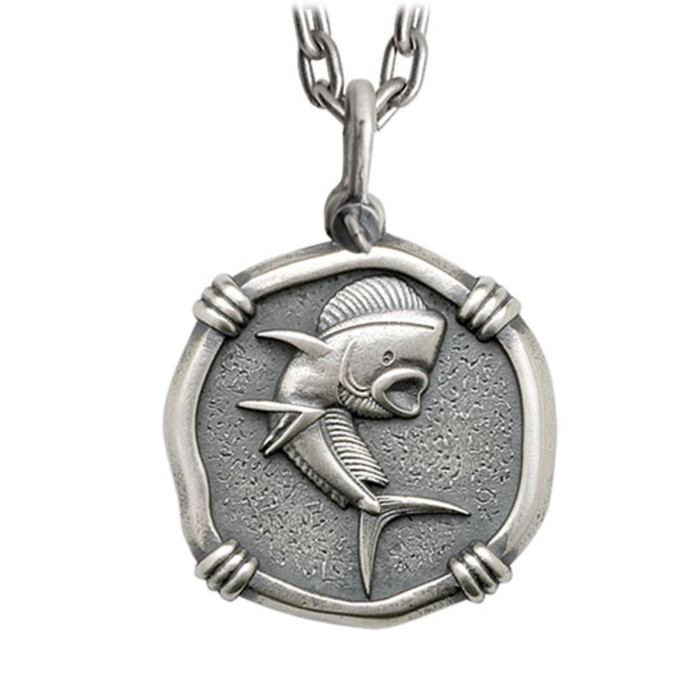Guy Harvey Large Size Sterling Silver Dolphin Necklace with Stainless Steel Heavy Link Chain