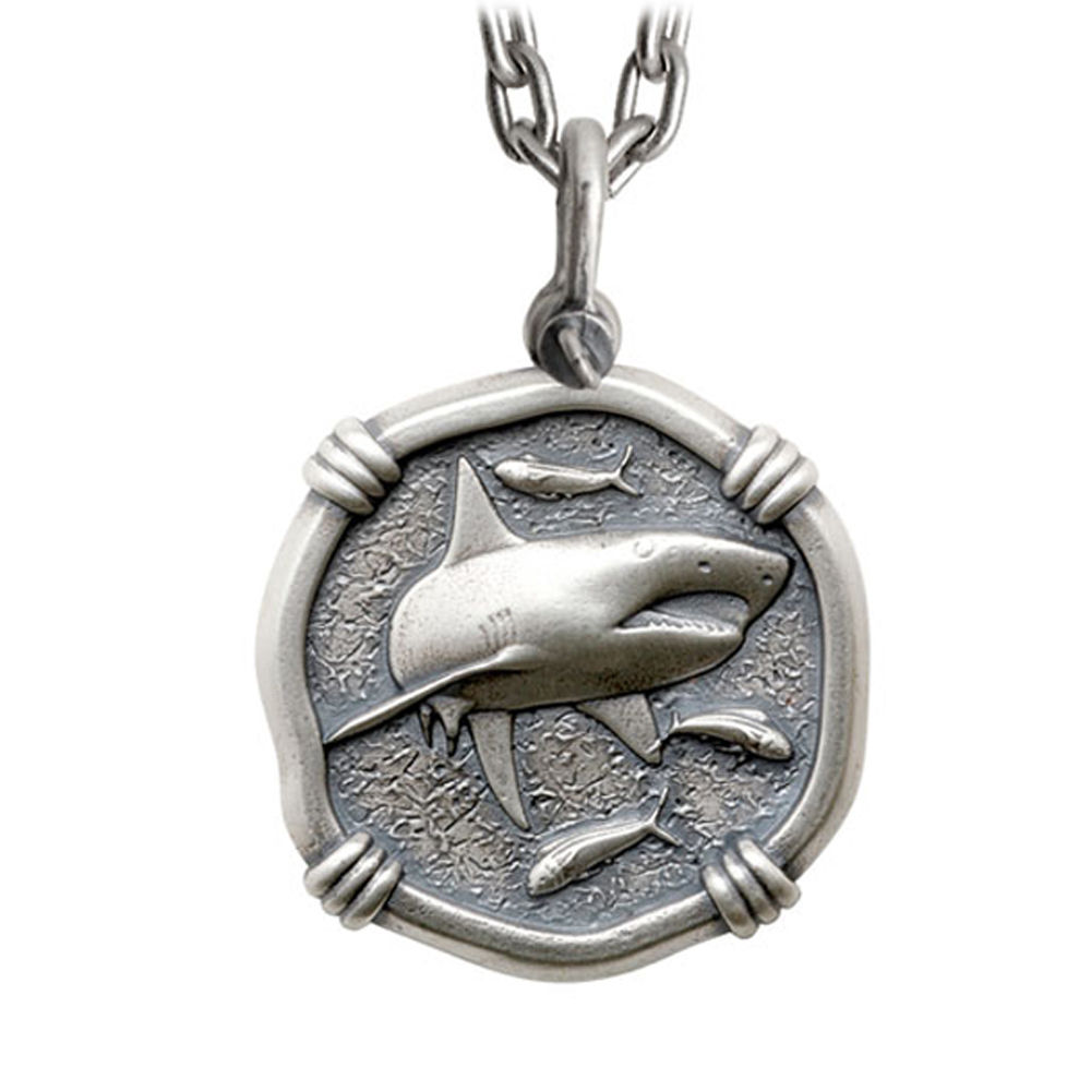 Guy Harvey Large Size Sterling Silver Shark Necklace with Stainless Steel Heavy Link Chain