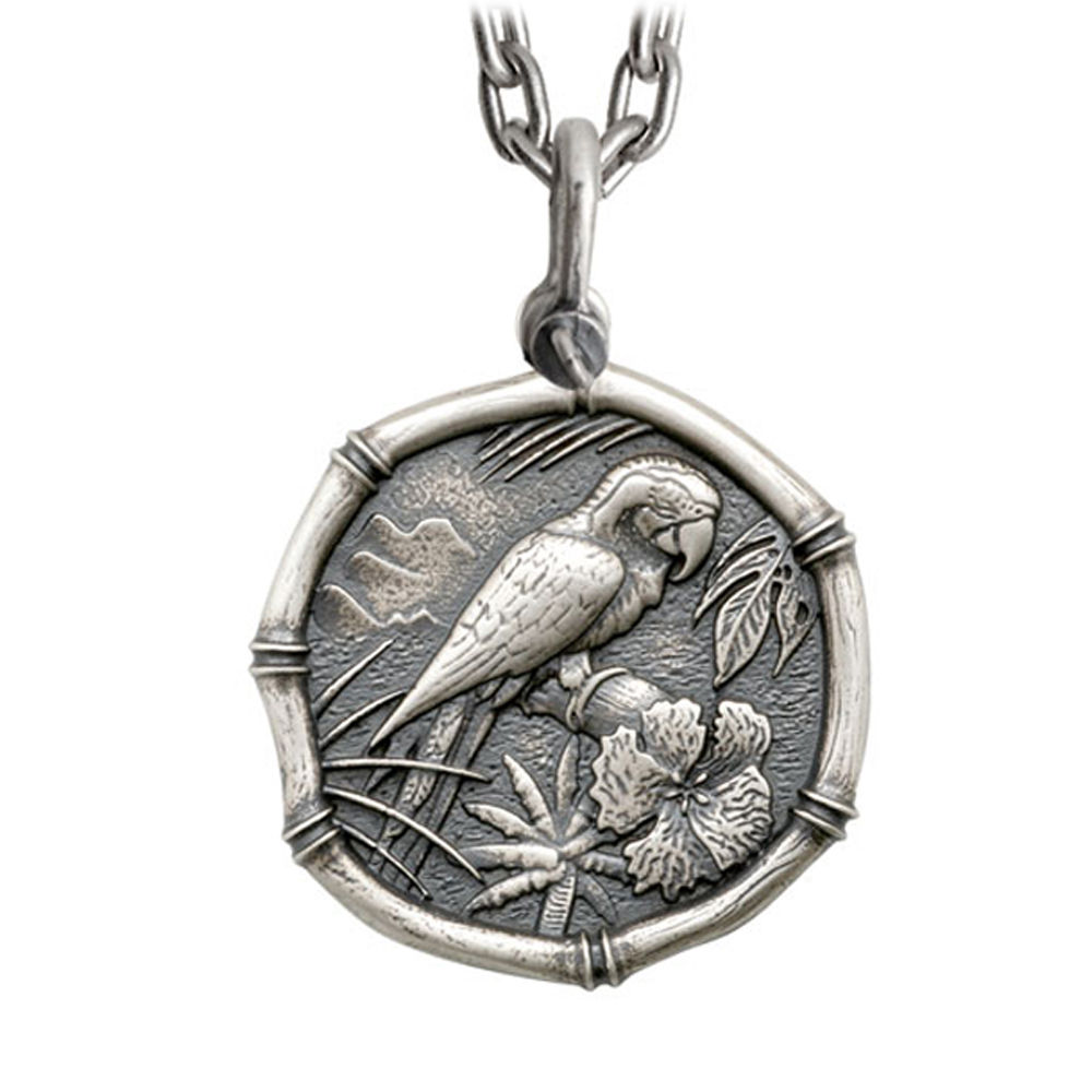 Guy Harvey Large Size Sterling Silver Macaw Necklace with Stainless Steel Heavy Link Chain