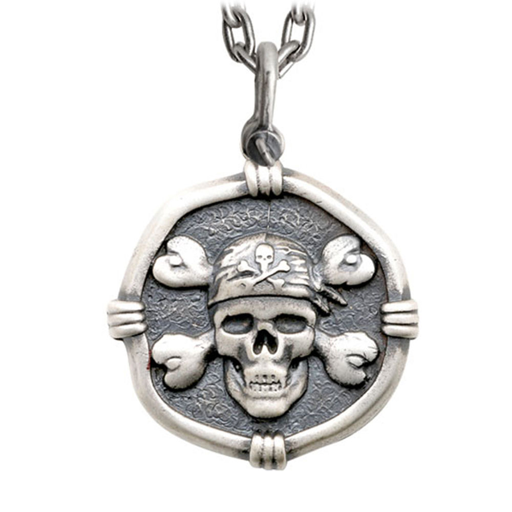 Guy Harvey Large Size Sterling Silver Pirate Necklace with Stainless Steel Heavy Link Chain