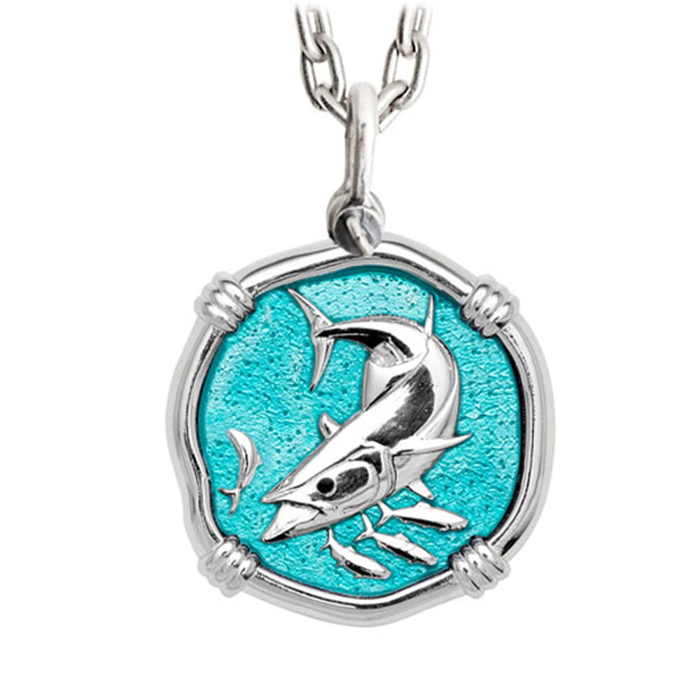 Guy Harvey Large King Mackerel Green Enamel Sterling Silver Necklace with Stainless Steel Chain