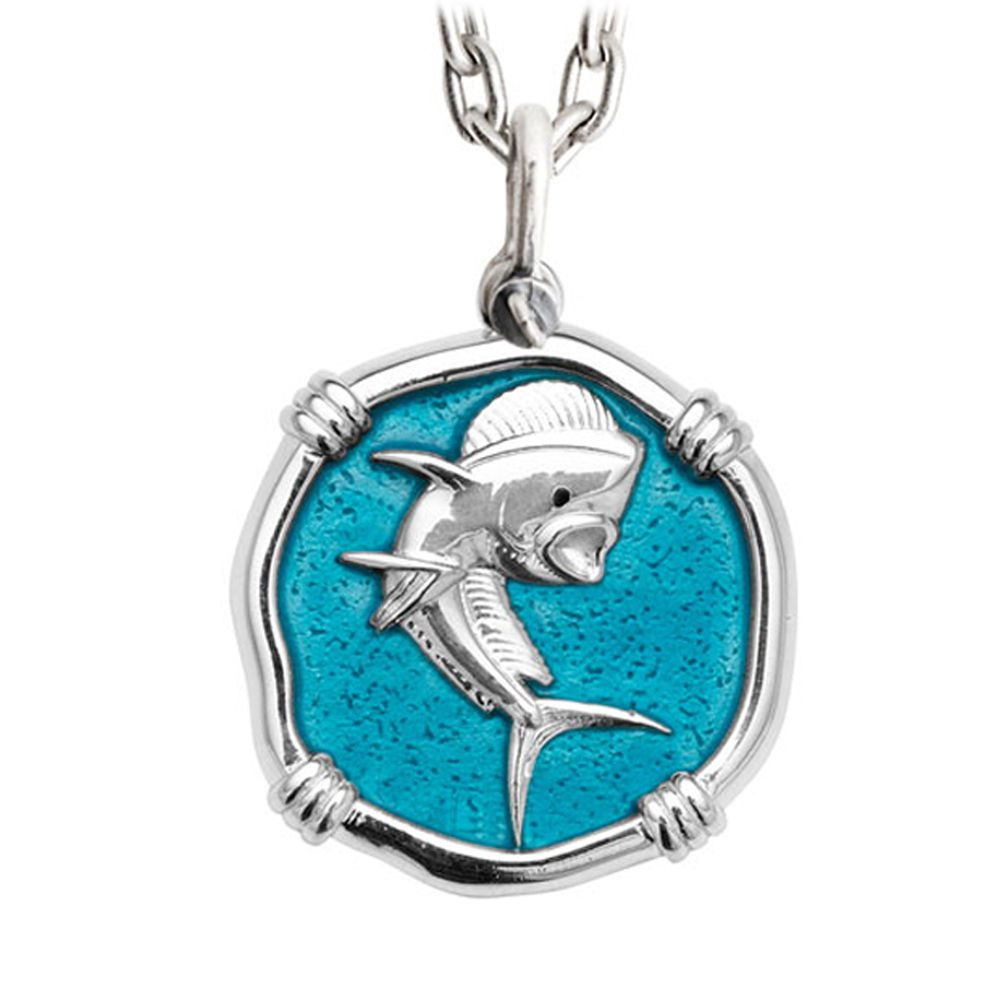 Guy Harvey Large Dolphin Cayman Green Enameled Sterling Silver Necklace - Stainless Steel Chain