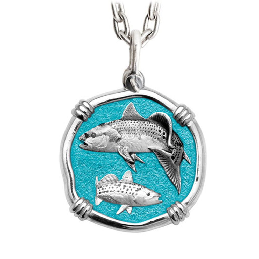 Guy Harvey Large Redfish & Trout Green Enameled Sterling Silver Necklace - Stainless Steel Chain