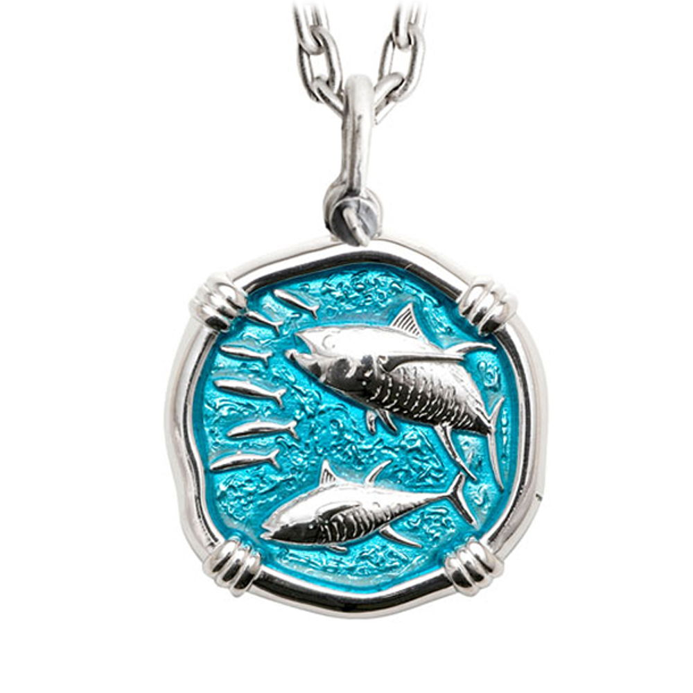 Guy Harvey Large Size Tuna Cayman Green Enameled Sterling Silver Necklace - Stainless Steel Chain