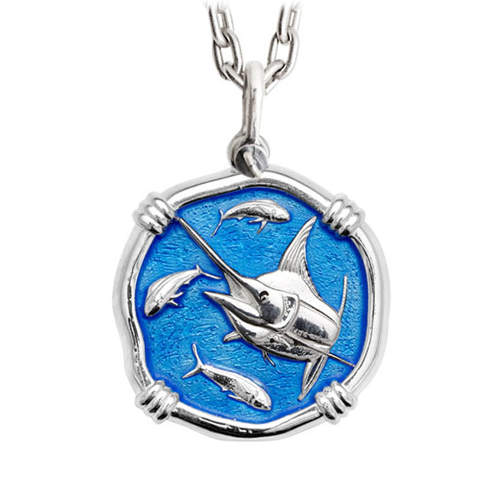 Guy Harvey Large Caribbean Blue Enameled Sterling Silver Marlin Necklace - Stainless Steel Chain
