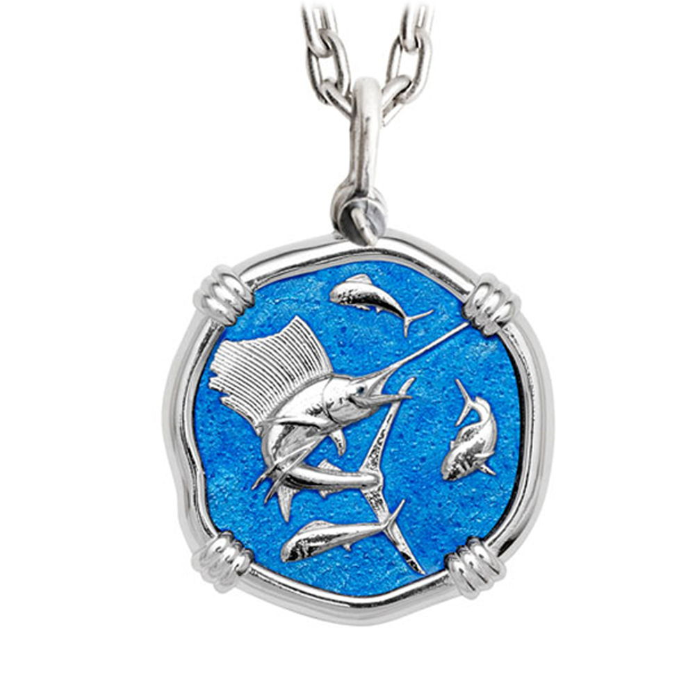 Guy Harvey Large Caribbean Blue Enamel Sterling Silver Sailfish Necklace with Stainless Steel Chain