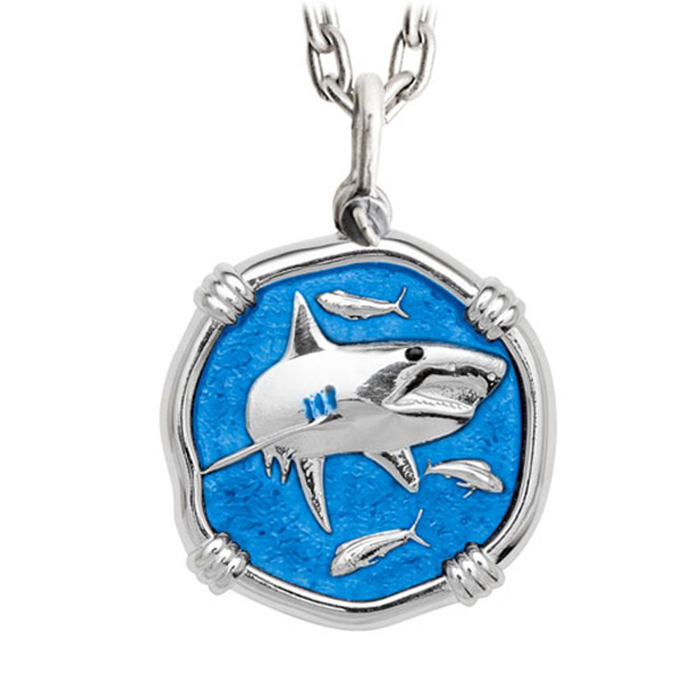 Guy Harvey Large Caribbean Blue Enameled Sterling Silver Shark Necklace - Stainless Steel Chain
