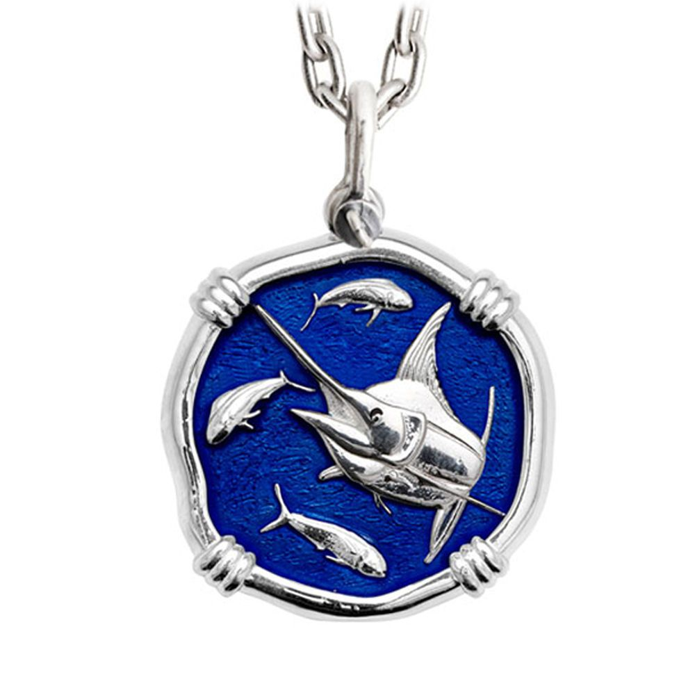 Guy Harvey Marlin Large Gulf Stream Blue Enamel Sterling Silver Necklace with Stainless Steel Chain