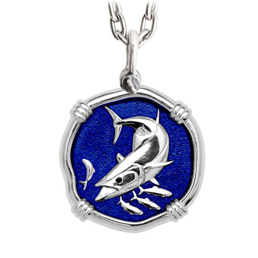 Guy Harvey Large King Mackerel Gulf Stream Blue Sterling Silver Necklace with Stainless Steel Chain