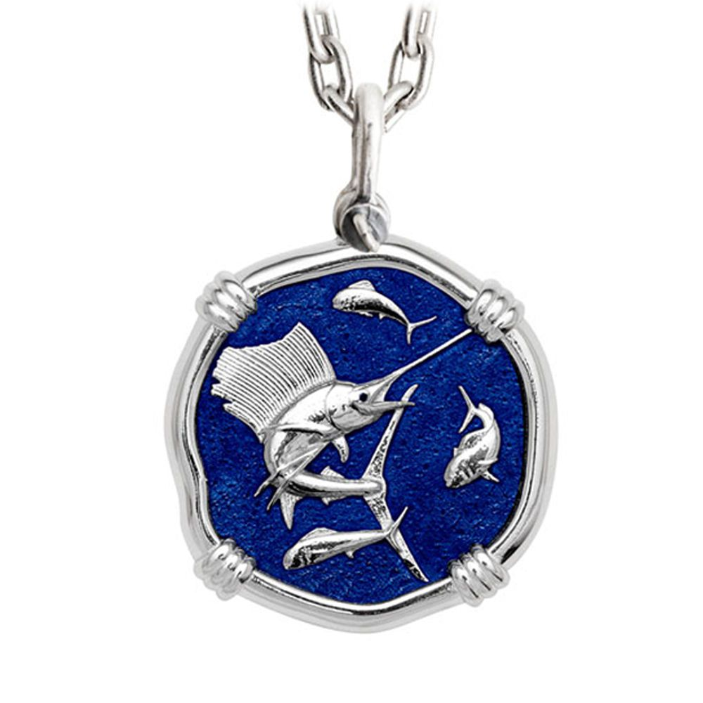 Guy Harvey Large Sailfish Necklace Gulf Stream Blue Enamel Sterling Silver - Stainless Steel Chain