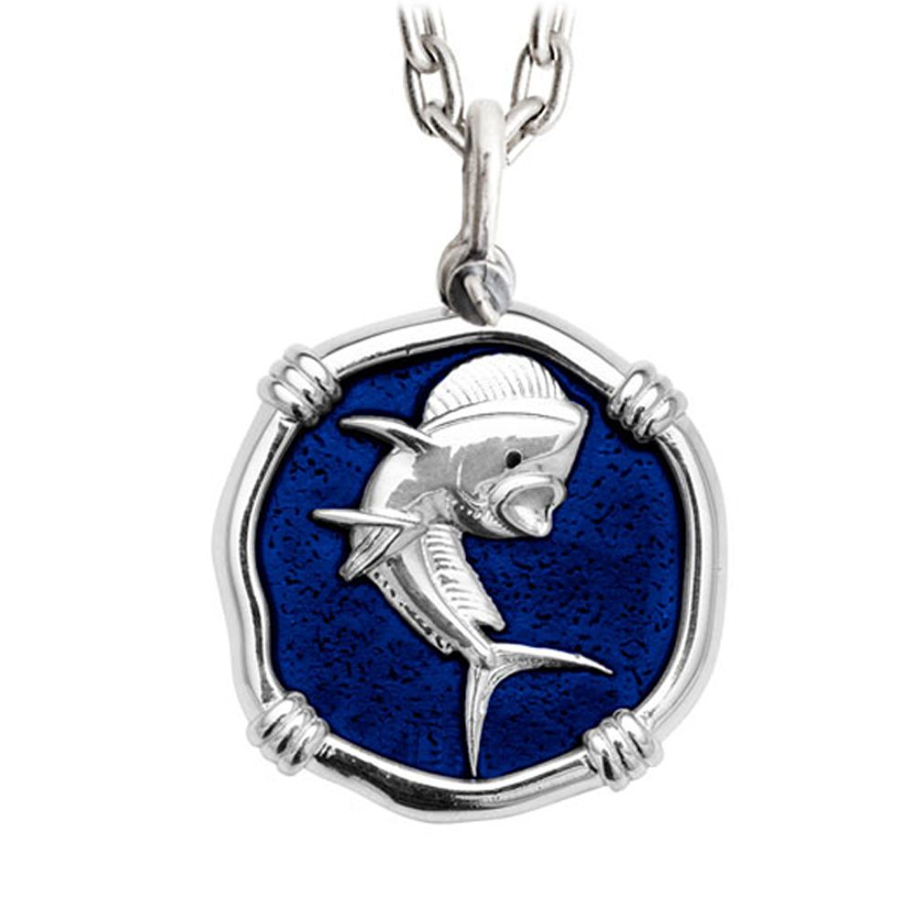 Guy Harvey Large Gulf Stream Blue Enamel Sterling Silver Dolphin Necklace with Stainless Steel Chain