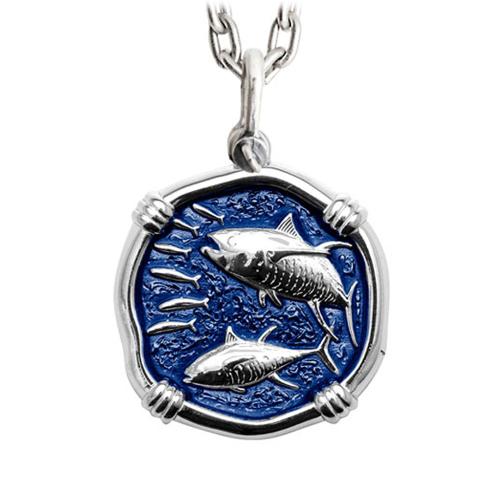 Guy Harvey Tuna Large Gulf Stream Blue Enameled Sterling Silver Necklace - Stainless Steel Chain