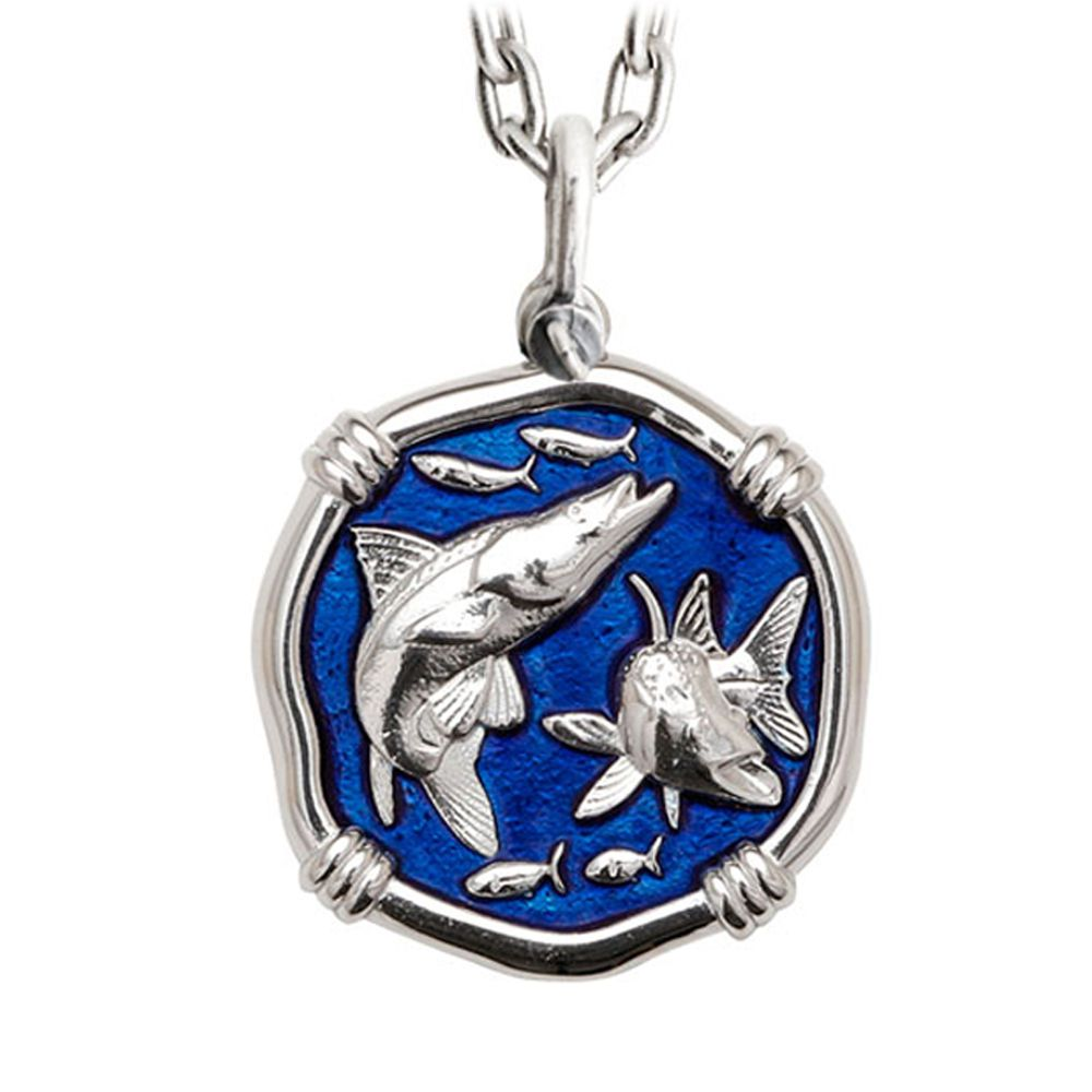 Guy Harvey Large Snook Gulf Stream Blue Enameled Sterling Silver Necklace - Stainless Steel Chain