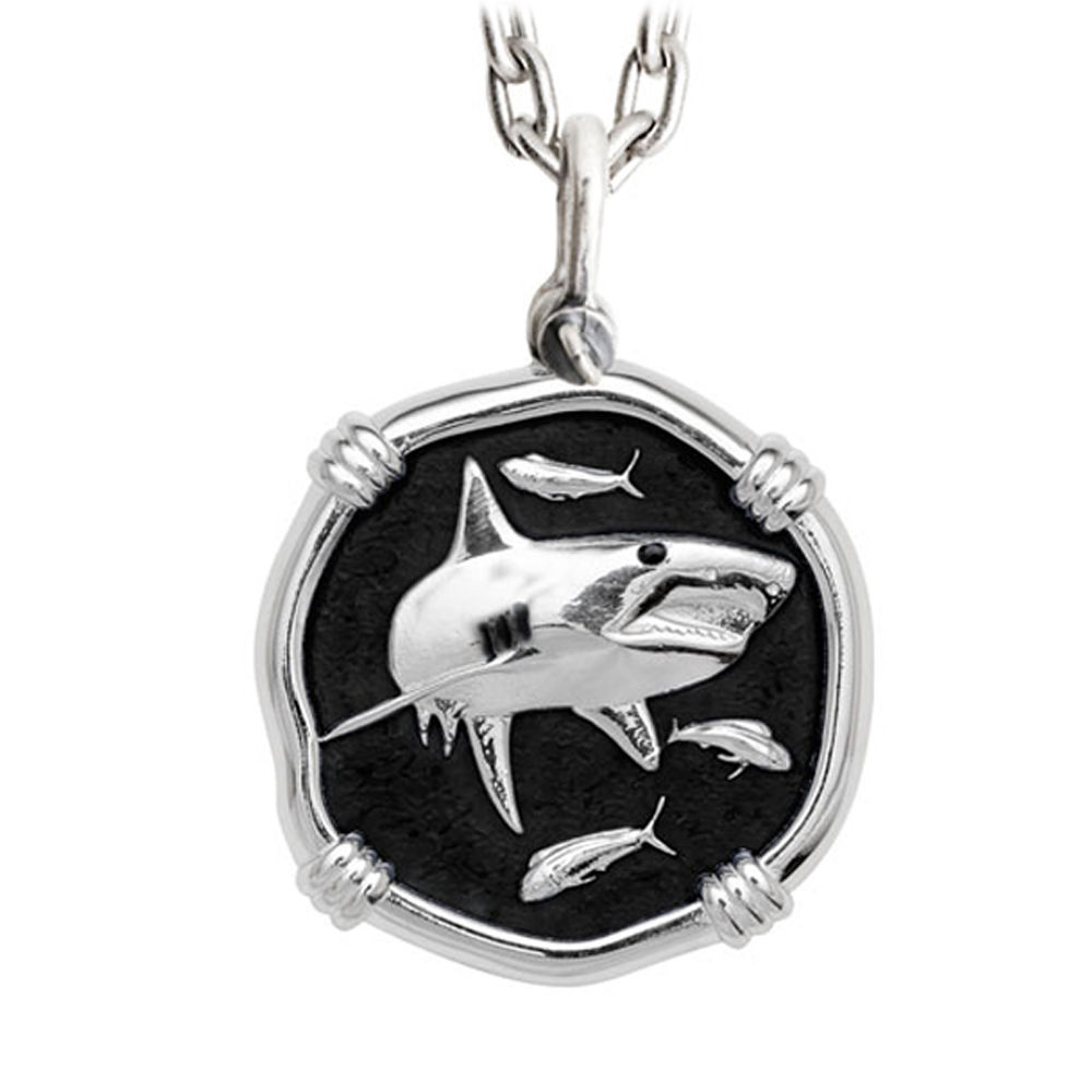 Guy Harvey Large Shark Black Enameled Sterling Silver Necklace with Stainless Steel Chain