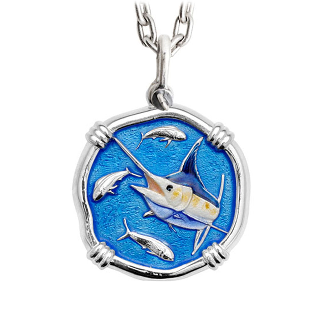 Guy Harvey Large Size Marlin Full Color Enameled Sterling Silver Necklace - Stainless Steel Chain
