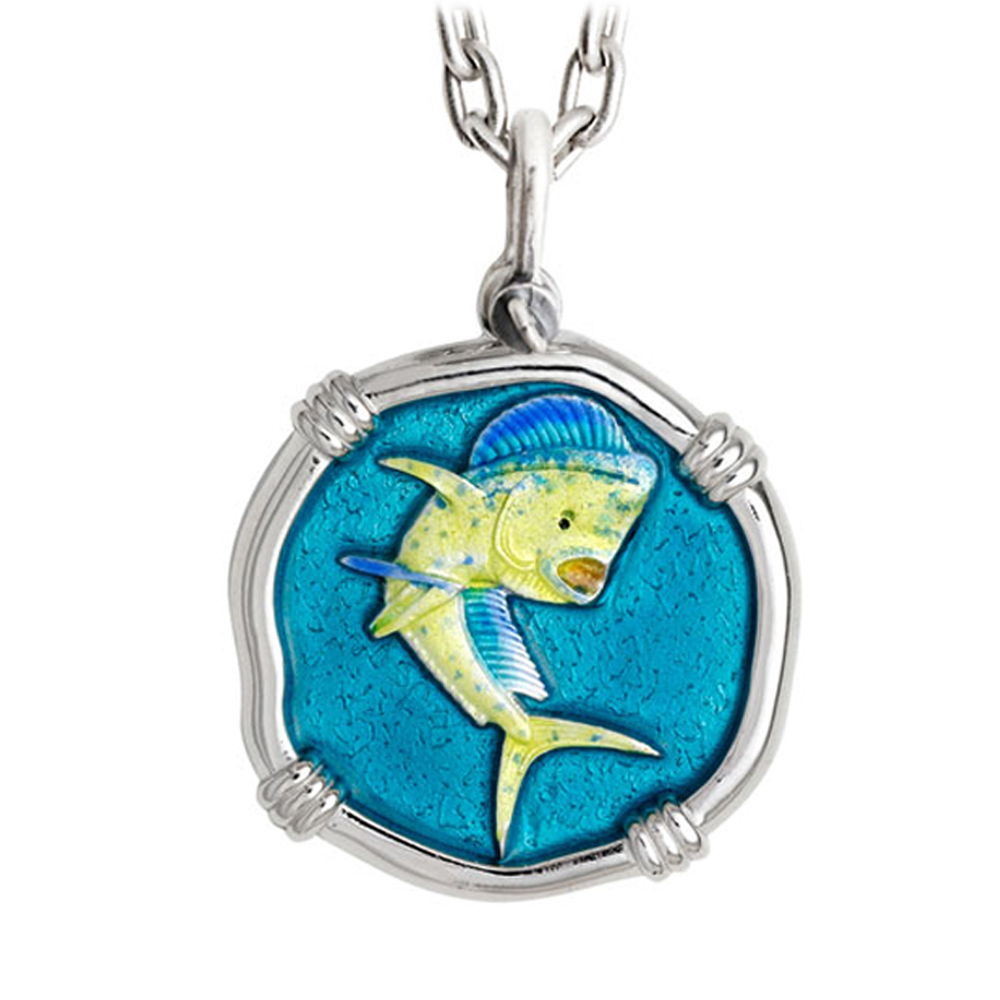 Guy Harvey Large Dolphin Full Color Enameled Sterling Silver Necklace - Stainless Steel Chain