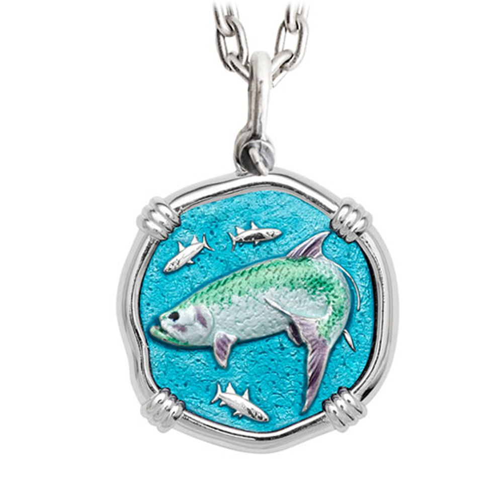 Guy Harvey Large Tarpon Full Color Enameled Sterling Silver Necklace - Stainless Steel Chain