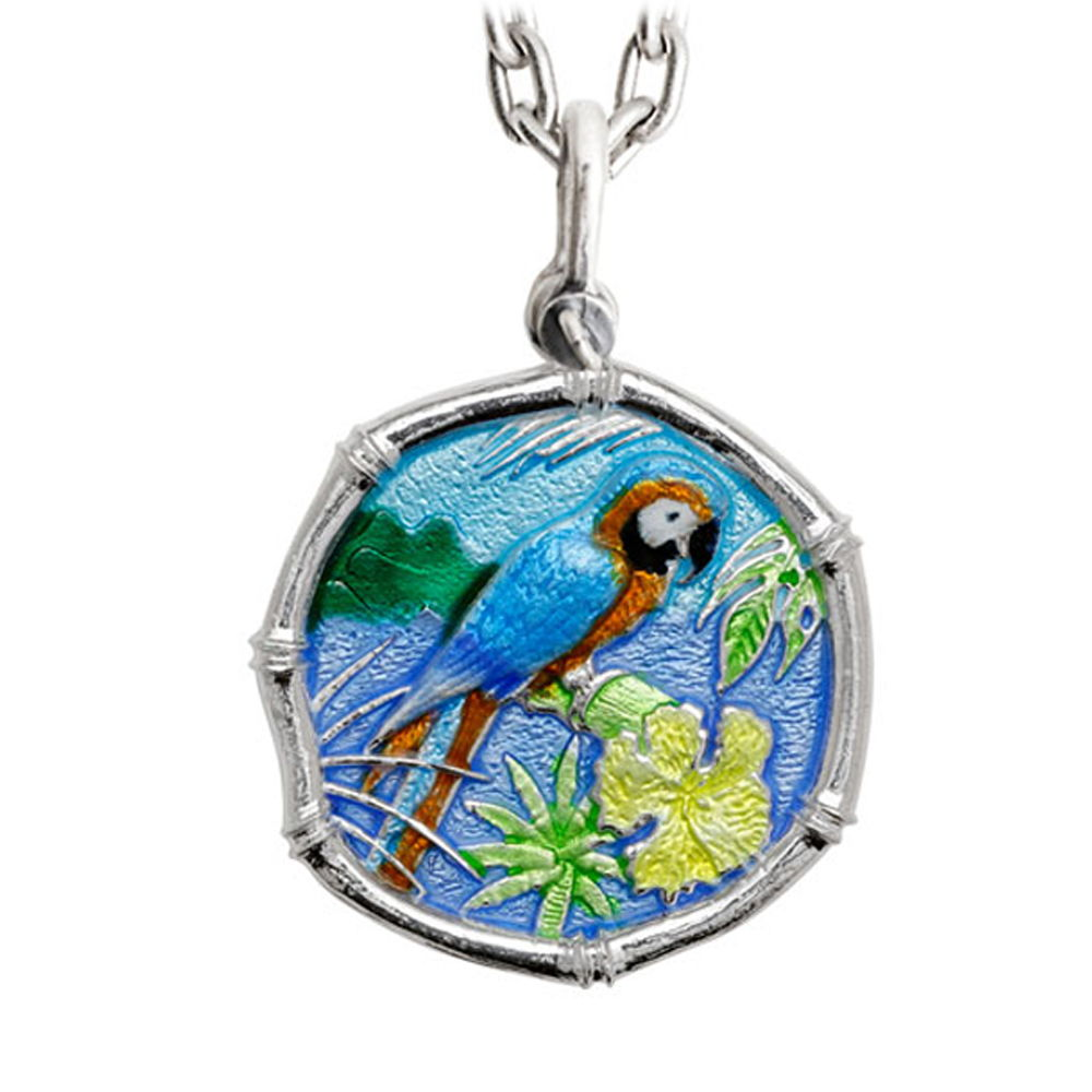 Guy Harvey Large Macaw Full Color Enameled Sterling Silver Necklace - Stainless Steel Chain