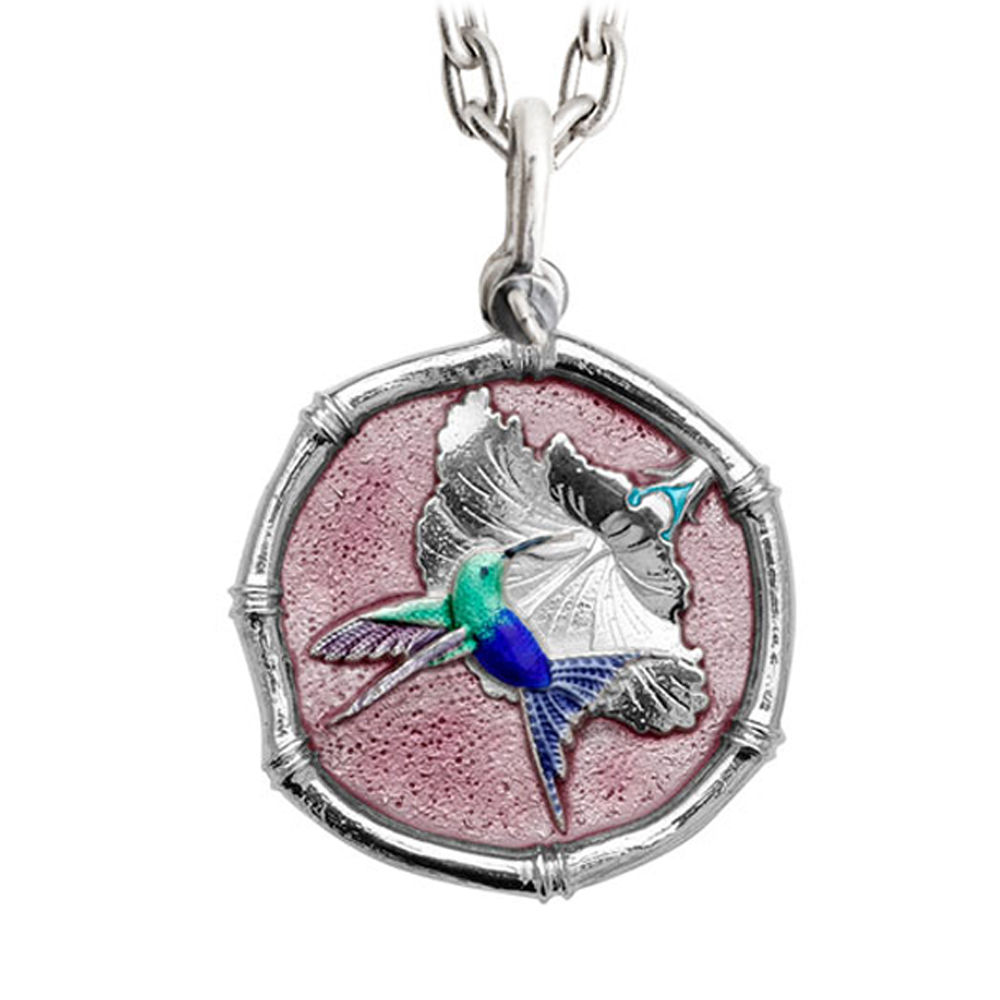 Guy Harvey Large Hummingbird Pink Enamel Sterling Silver Necklace - Stainless Steel Chain