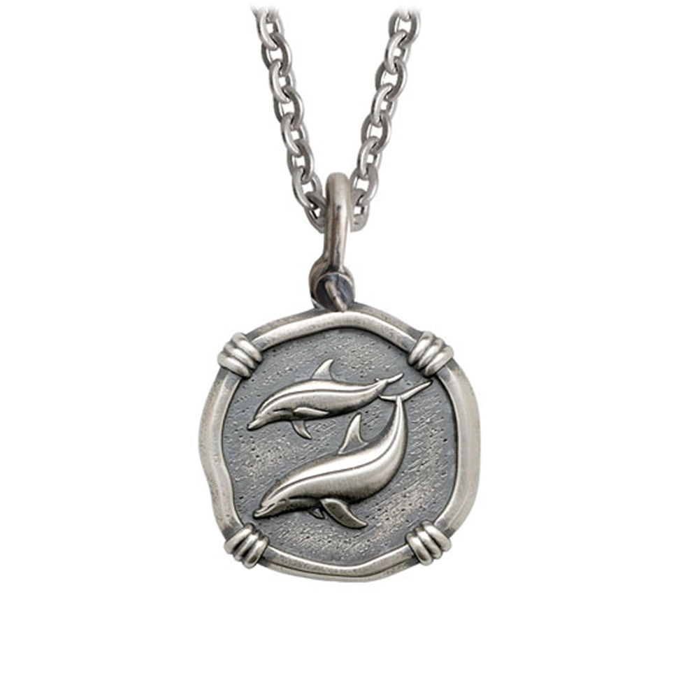 Guy Harvey Medium size Sterling Silver Porpoises Necklace with Stainless Steel Link Chain