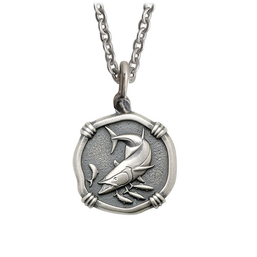 Guy Harvey Medium size Sterling Silver King Mackerel Necklace with Stainless Steel Link Chain