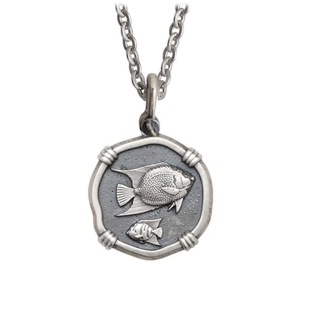 Guy Harvey Medium size Sterling Silver Angelfish Necklace with Stainless Steel Link Chain