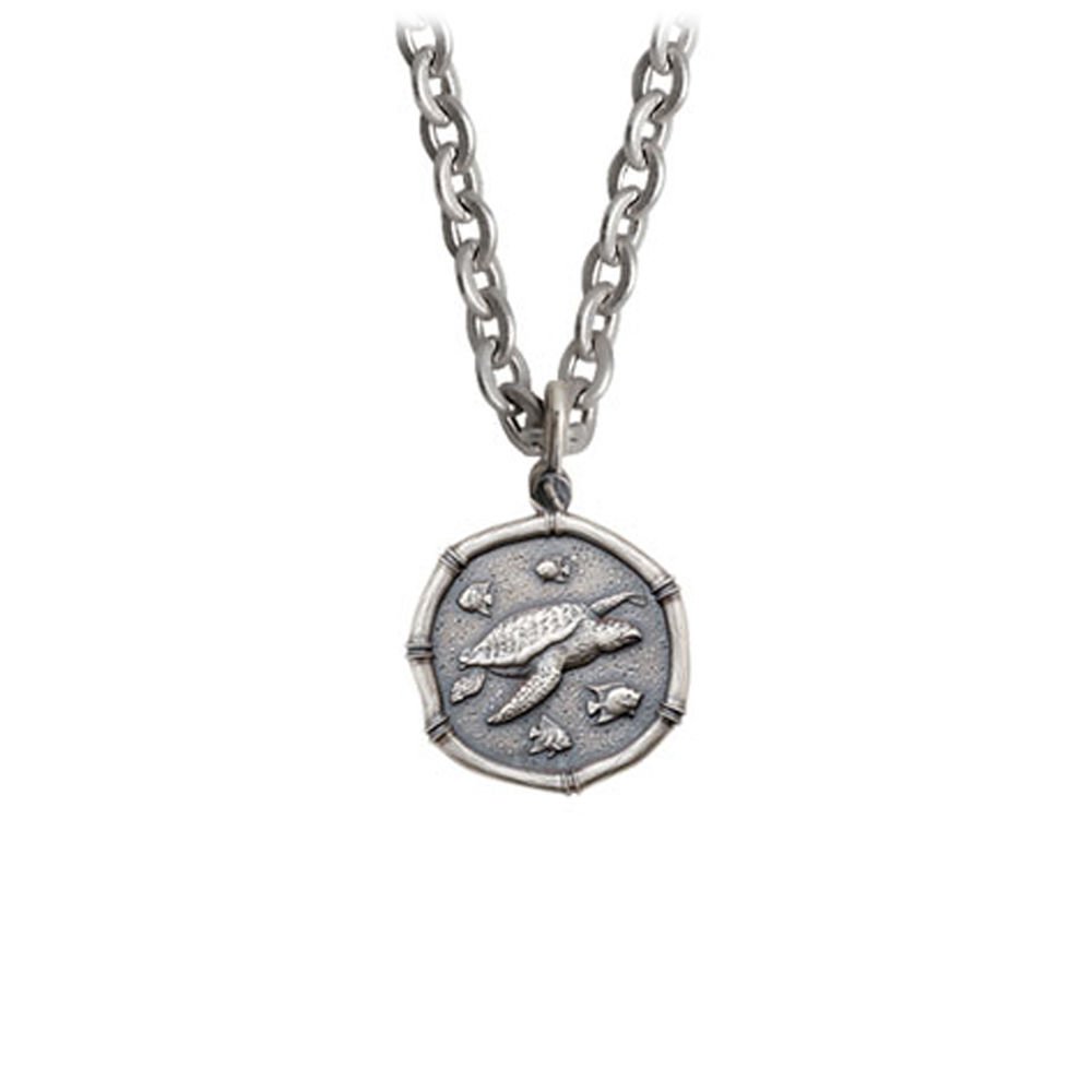 Guy Harvey Petite size Sterling Silver Sea Turtle Necklace with Stainless Steel Link Chain