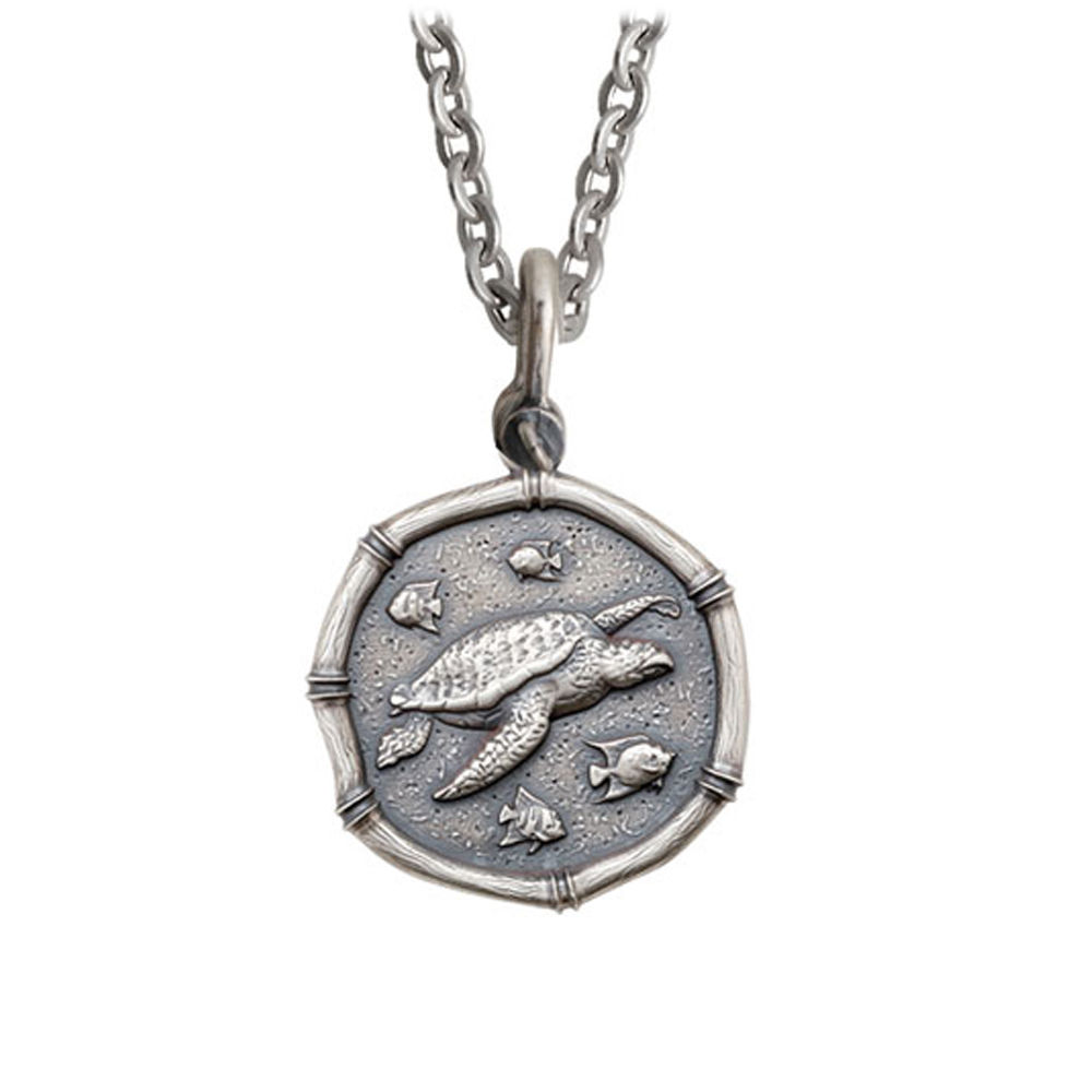 Guy Harvey Medium size Sterling Silver Sea Turtle Necklace with Stainless Steel Link Chain