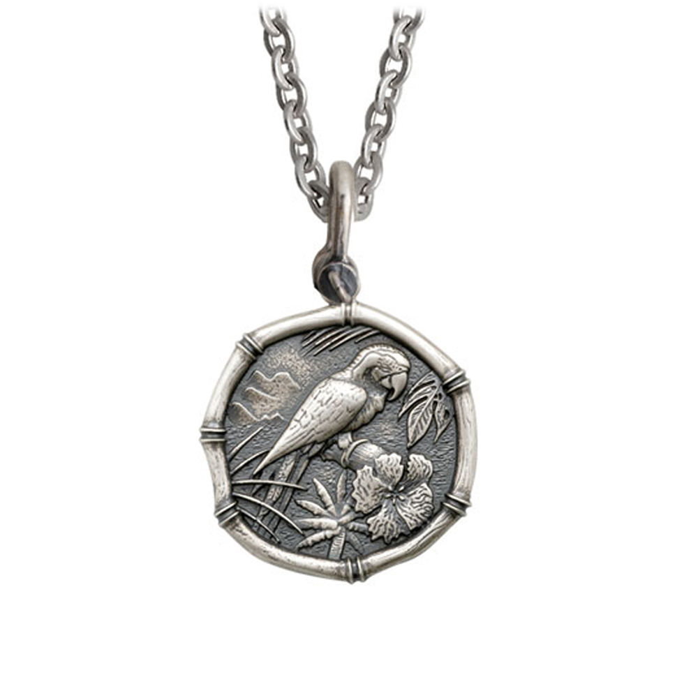 Guy Harvey Medium size Sterling Silver Macaw Necklace with Stainless Steel Link Chain