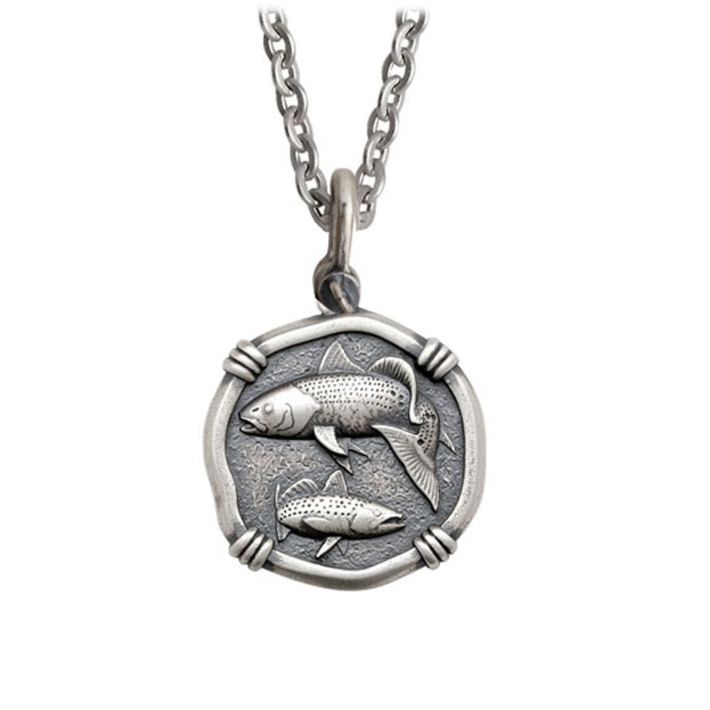 Guy Harvey Medium size Sterling Silver Redfish & Trout Necklace with Stainless Steel Link Chain