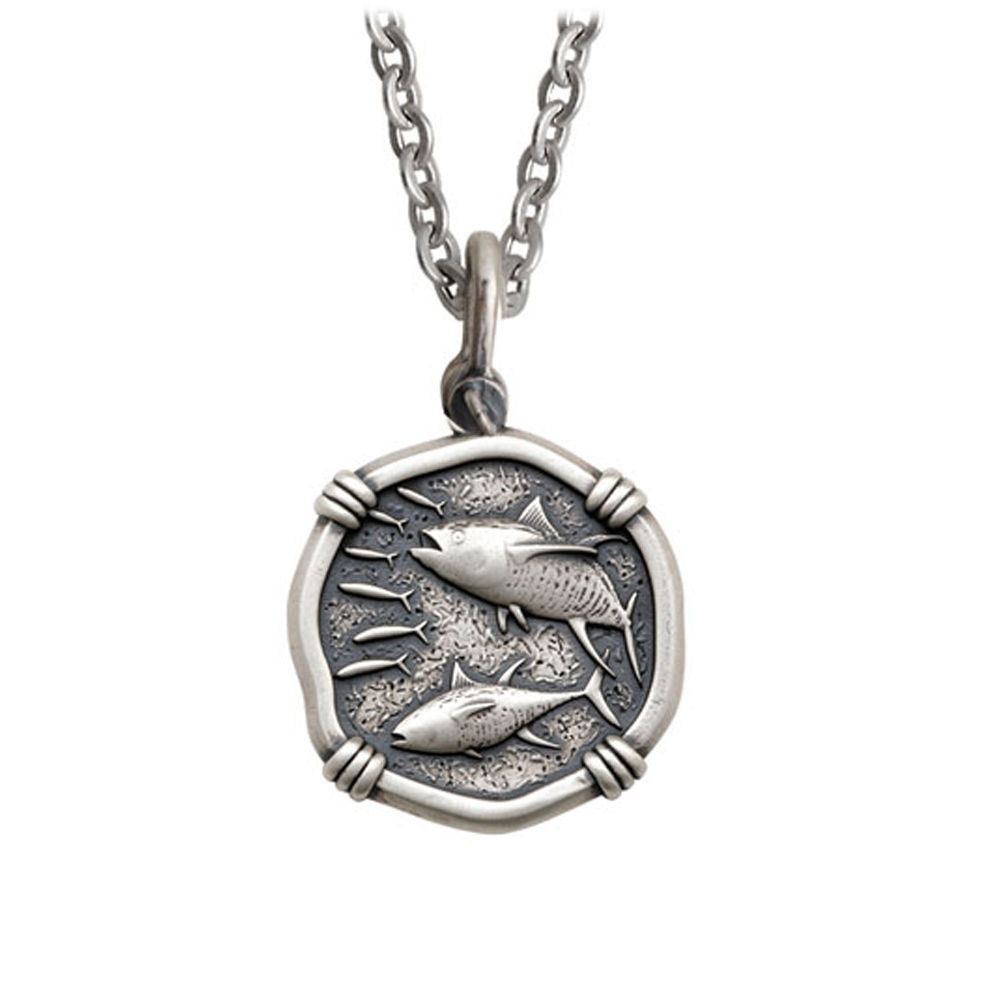 Guy Harvey Medium size Sterling Silver Tuna Necklace with Stainless Steel Link Chain