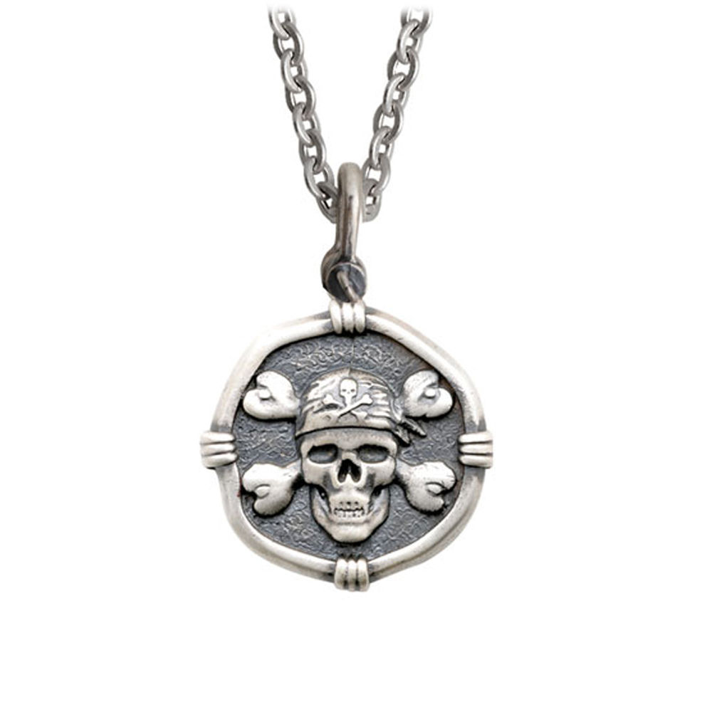 Guy Harvey Medium size Sterling Silver Pirate Necklace with Stainless Steel Link Chain