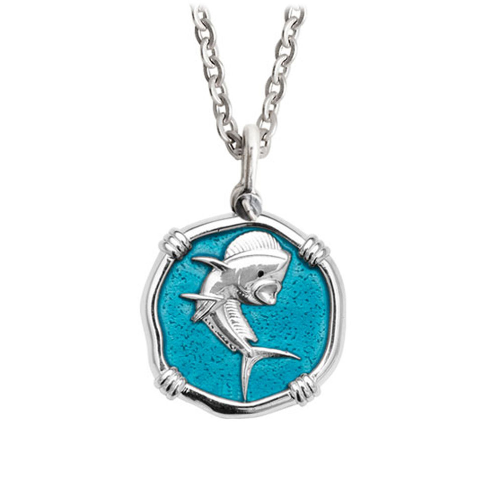 Guy Harvey Medium Cayman Green enameled Sterling Silver Dolphin Necklace - Stainless Steel Chain