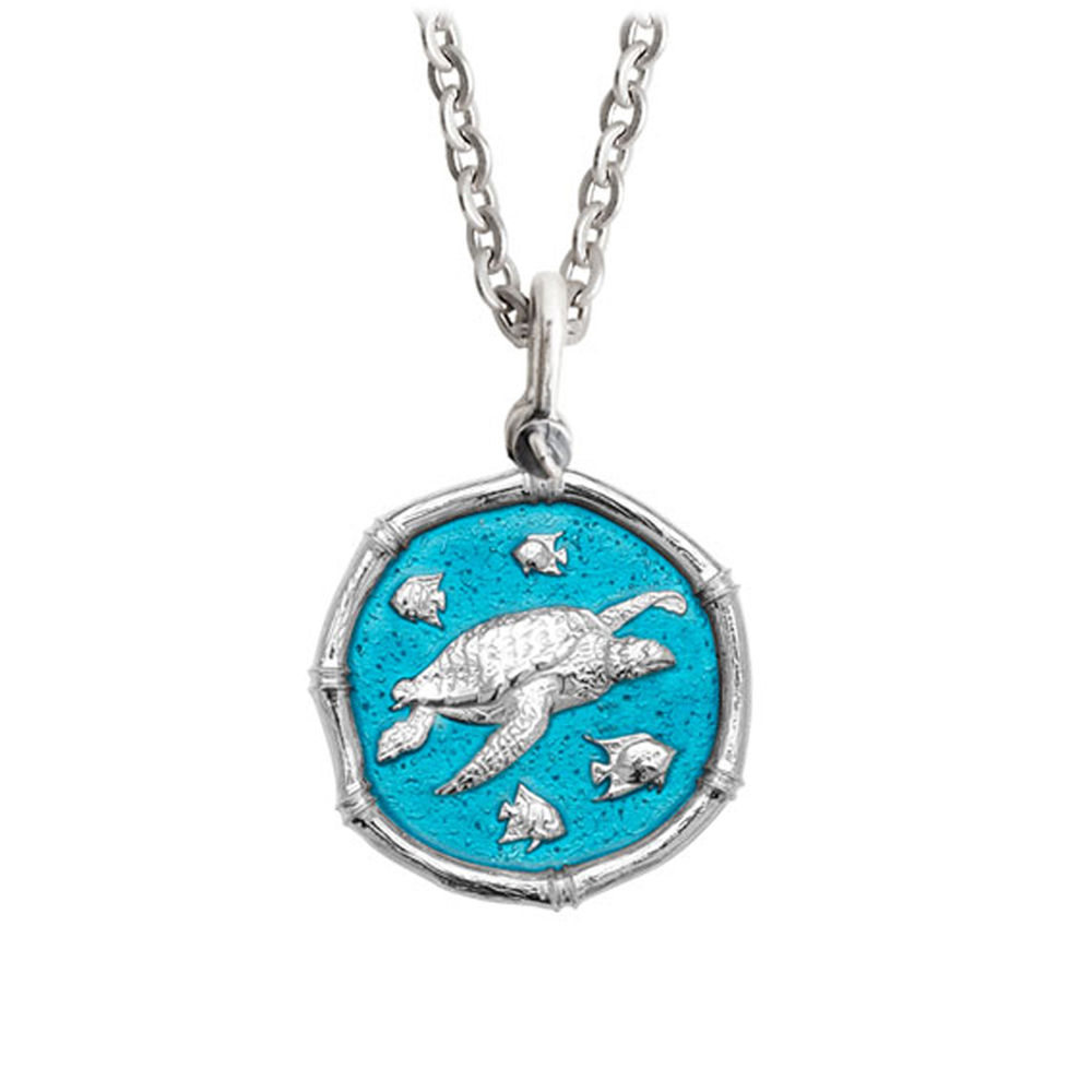 Guy Harvey Medium Cayman Green enameled Sterling Silver Sea Turtle Necklace - Stainless Steel Chain