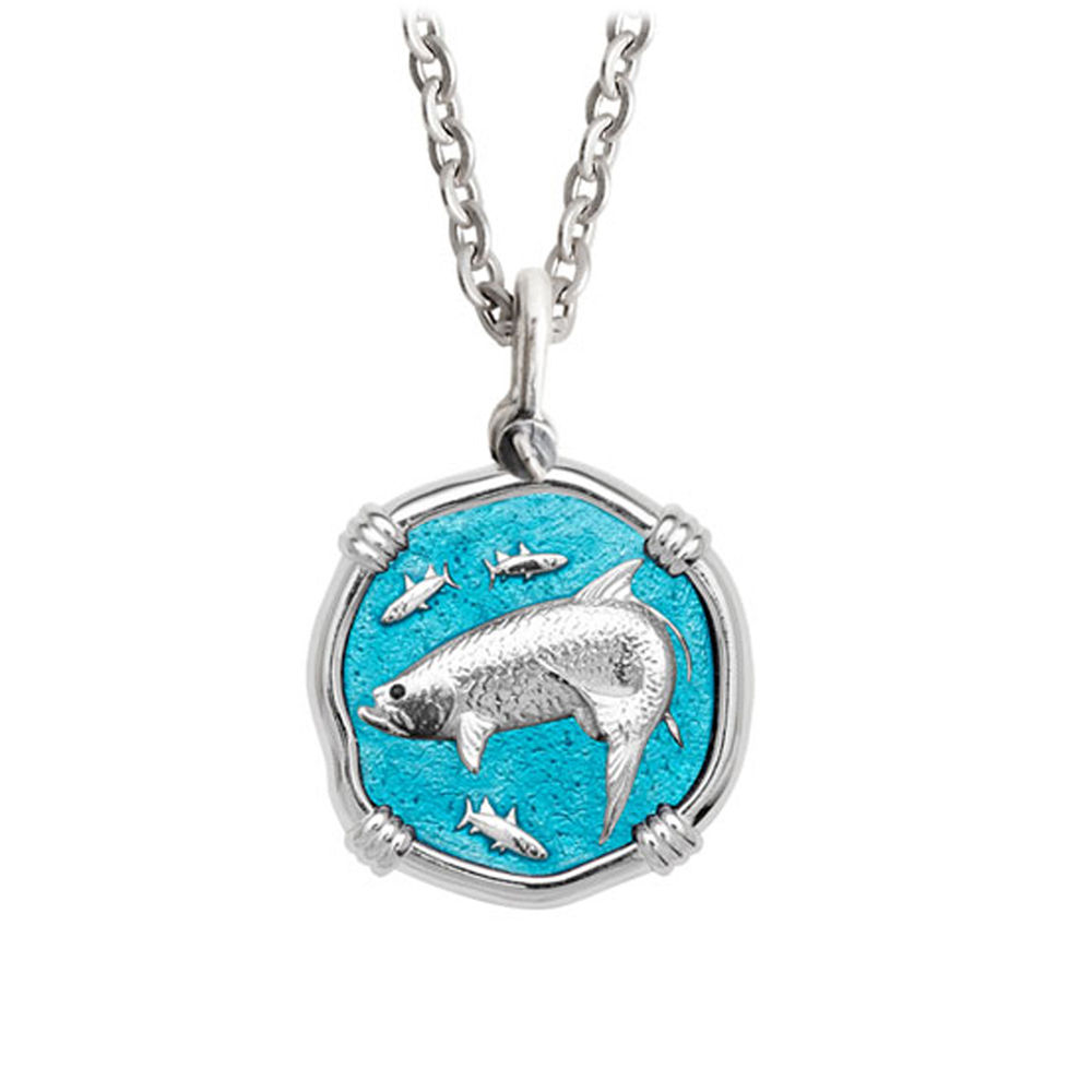 Guy Harvey Medium Cayman Green enameled Sterling Silver Tarpon Necklace - Stainless Steel Chain