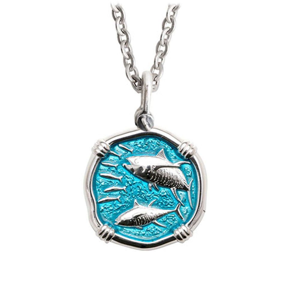 Guy Harvey Medium size Cayman Green enameled Sterling Silver Tuna Necklace - Stainless Steel Chain