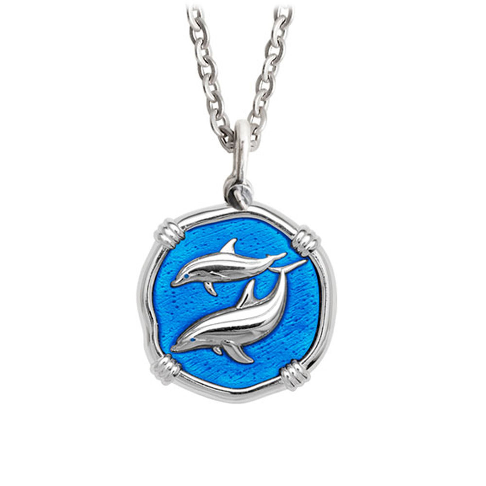 Guy Harvey Medium Caribbean Blue enameled Sterling Silver Porpoises Necklace - Stainless Steel Chain