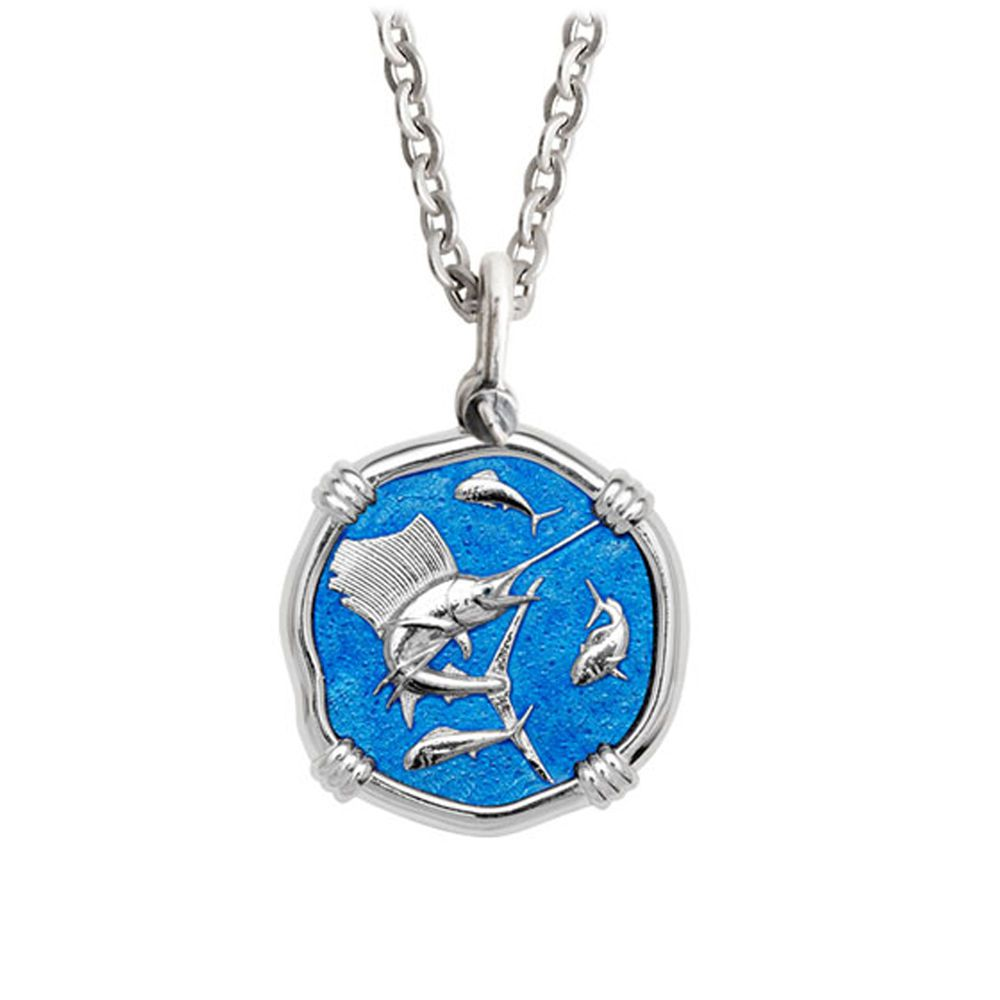 Guy Harvey Medium Caribbean Blue enameled Sterling Silver Sailfish Necklace - Stainless Steel Chain