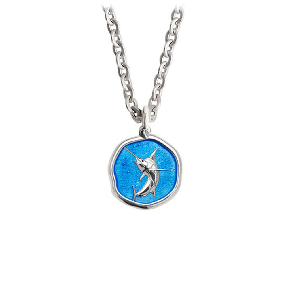 Guy Harvey Petite Caribbean Blue enameled Sterling Silver Marlin Necklace - Stainless Steel Chain