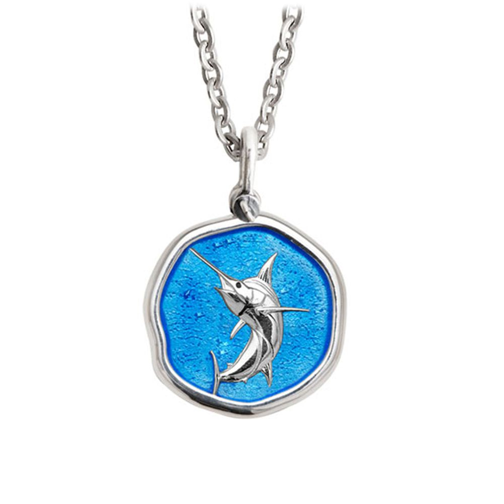 Guy Harvey Medium Caribbean Blue enameled Sterling Silver Marlin Necklace- Stainless Steel Chain