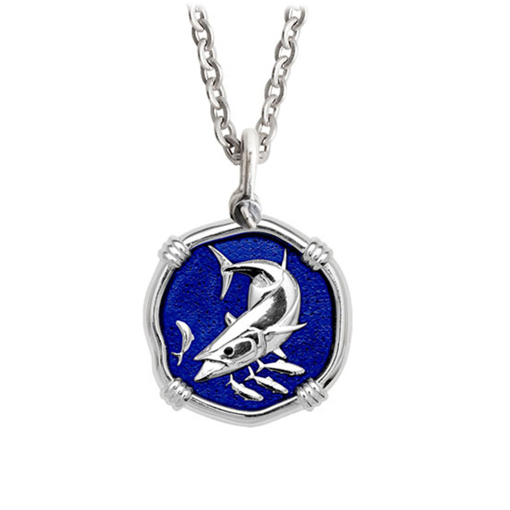 Guy Harvey Medium King Mackerel Necklace Gulf Stream Blue Enamel - Stainless Steel Chain