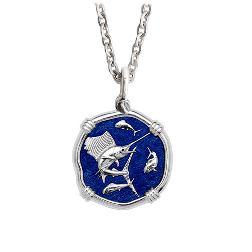 Guy Harvey Medium Gulf Stream Blue Enamel Sterling Silver Sailfish Necklace - Stainless Steel Chain