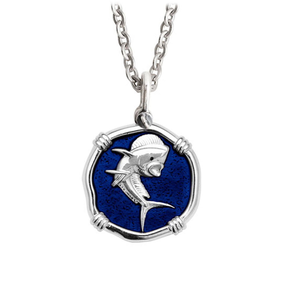 Guy Harvey Medium Gulf Stream Blue enameled Sterling Silver Dolphin Necklace - Stainless Steel Chain