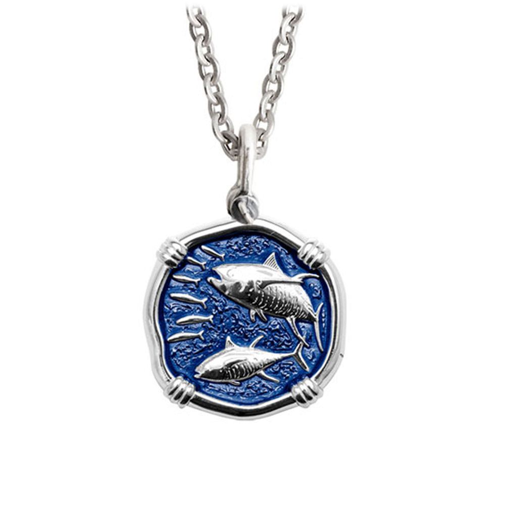 Guy Harvey Medium Gulf Stream Blue enameled Sterling Silver Tuna Necklace - Stainless Steel Chain